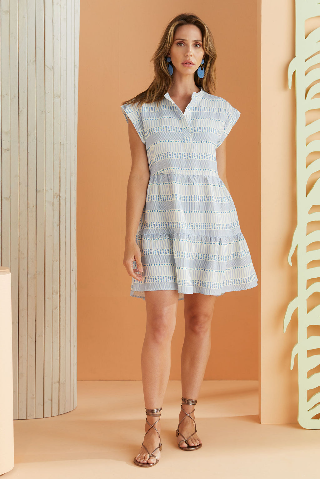 short sleeve pull on dress in white and blue line dot stripe pattern