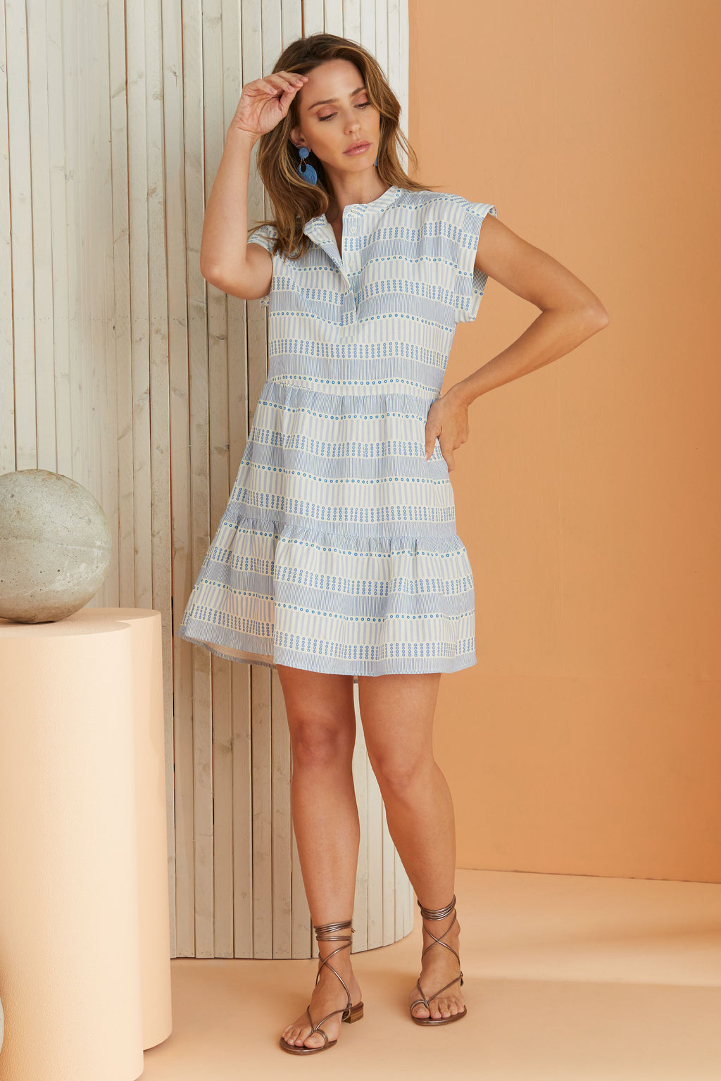 short sleeve summer dress in dot and line stripe pattern, hits above the knee