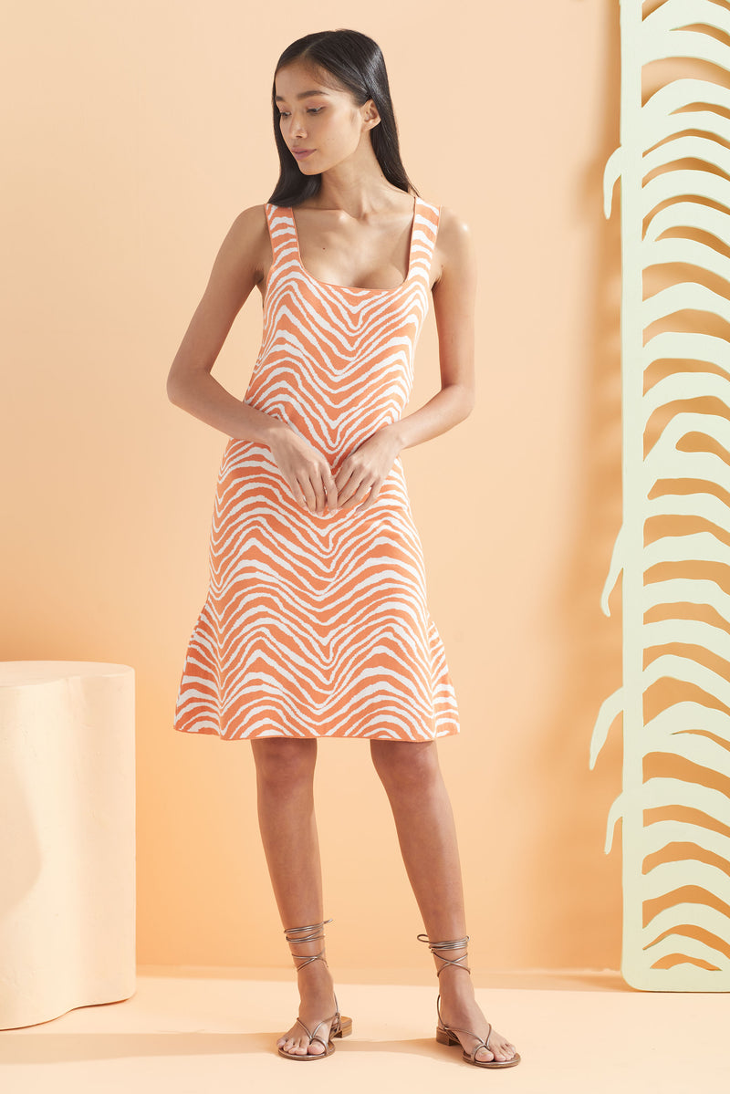 Bodycon cotton spandex dress in our orange and white animal pattern