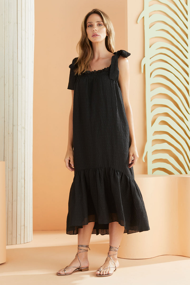 midi sleeveless textured black dress with tie straps