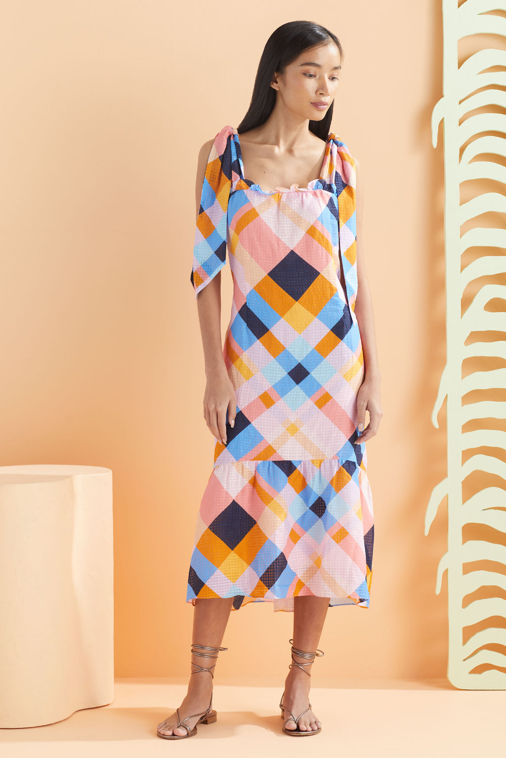 Textured check sleeveless midi dress in our playful plaid