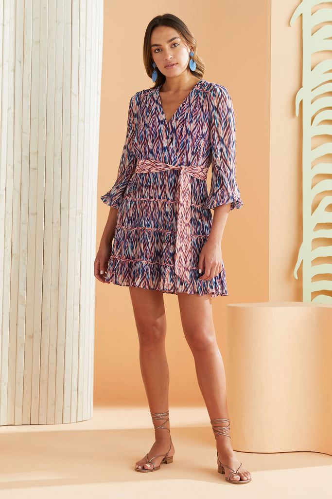 long sleeve and tiered dress with our blue and purple geometric abstract print