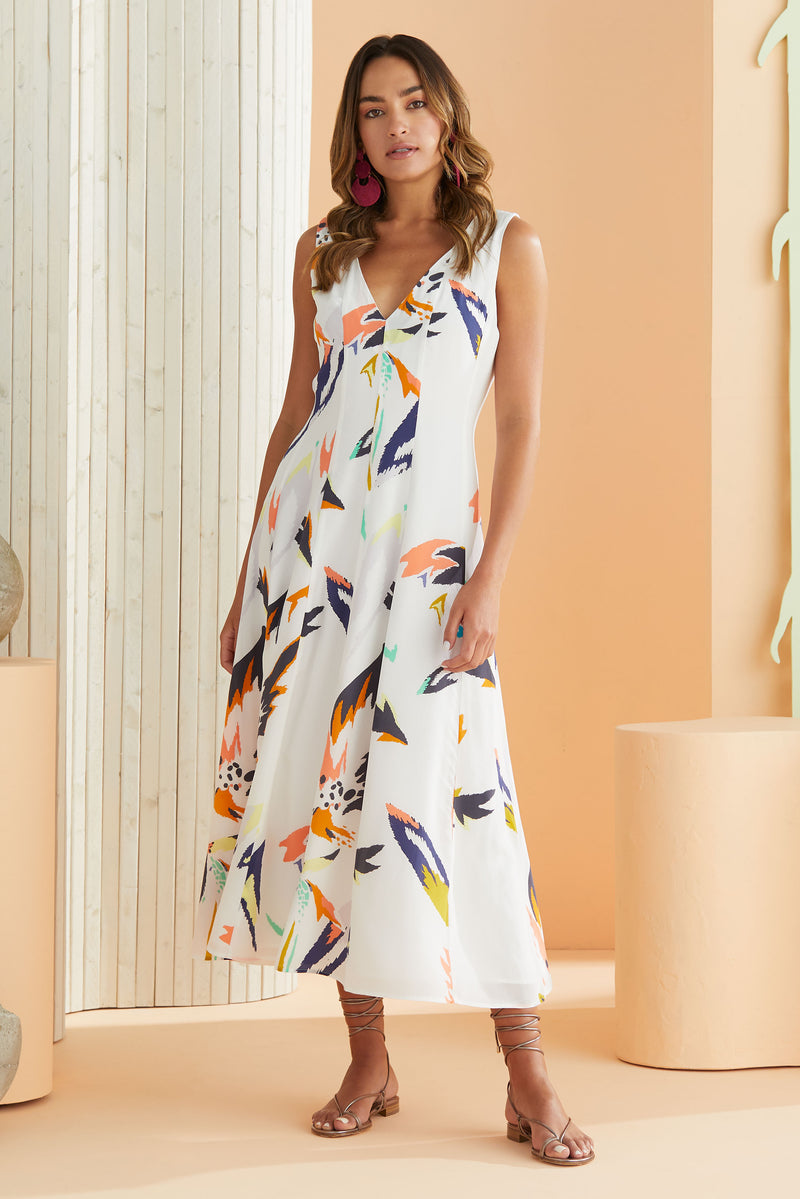 Fit and flair sleeveless dress that hits right above the ankle