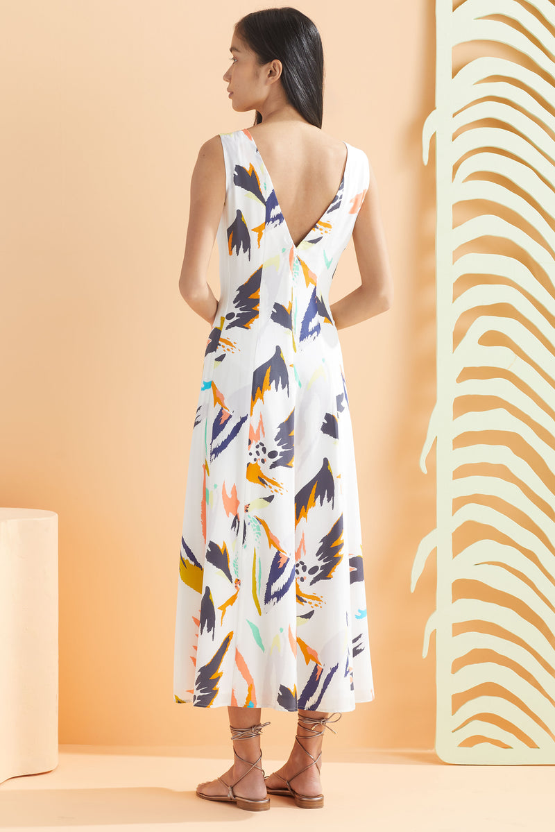 Back view of the maxi dress in our abstract large scale floral print