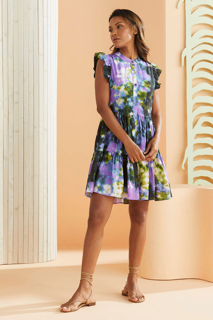 Model wearing the Neelie Dress in our Lagoon Print