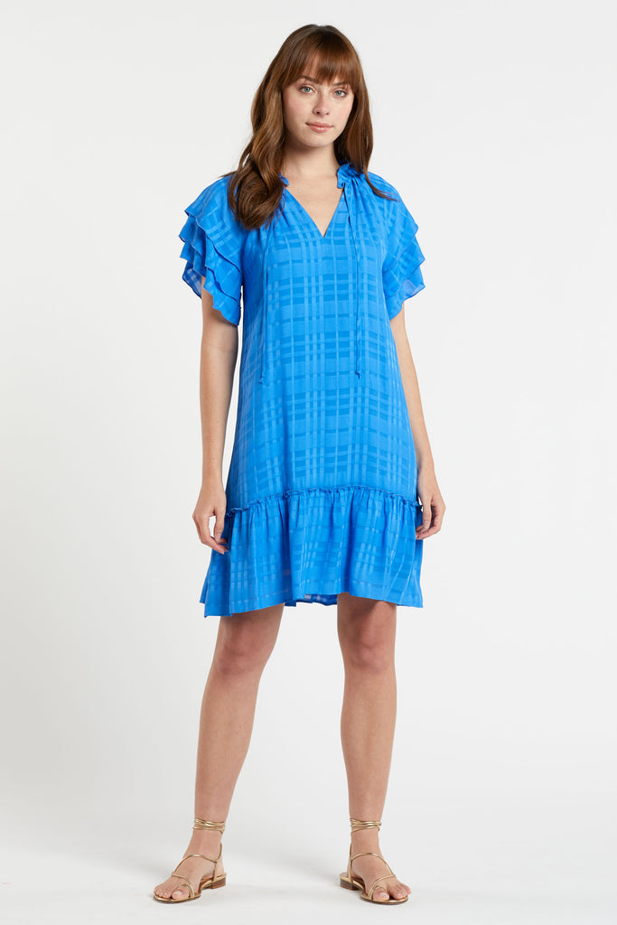bright ocean blue tonal plaid dress with raglan sleeve detail and ruffle flounce hem