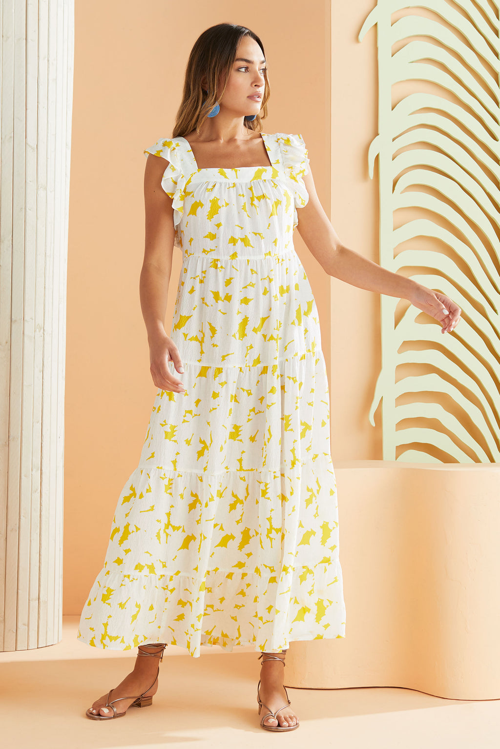 square neck tiered maxi dress in our white and yellow floral print