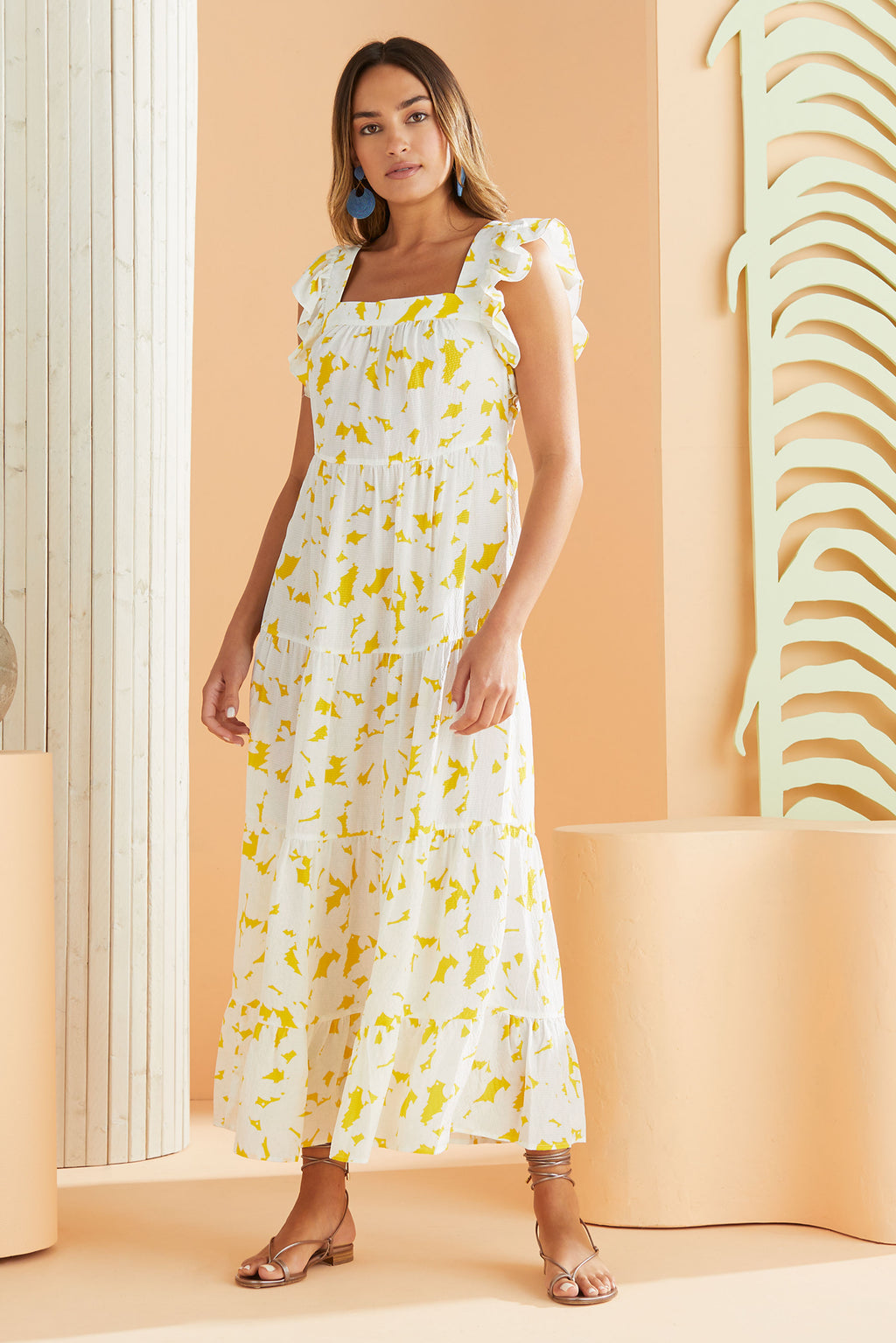 slip on summer maxi dress in golden floral