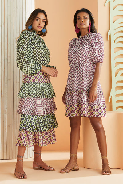 two models wearing citrus and berry shibori printed women's clothing