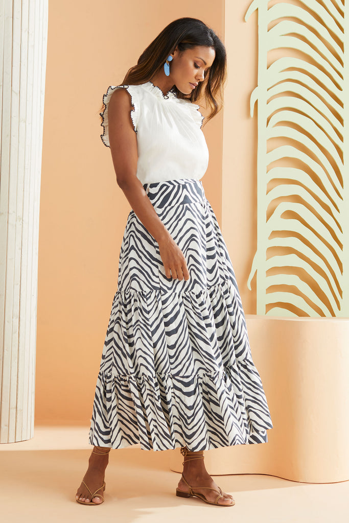 Tiered Maxi Skirt in white and navy zebra