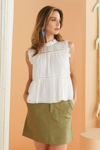 white silk top in tonal check fabric, gathered neckine detail