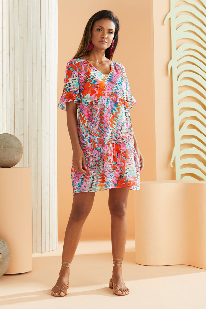 short sleeve dress that hits above the knee in our flirty pink marble print