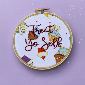 TREAT YO SELF / Parks and Recreation Embroidery Hoop