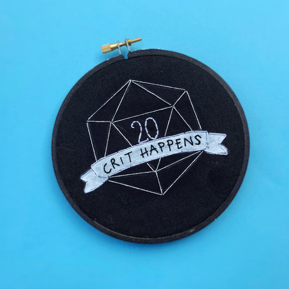 CRIT HAPPENS / D&D, D20 embroidery hoop
