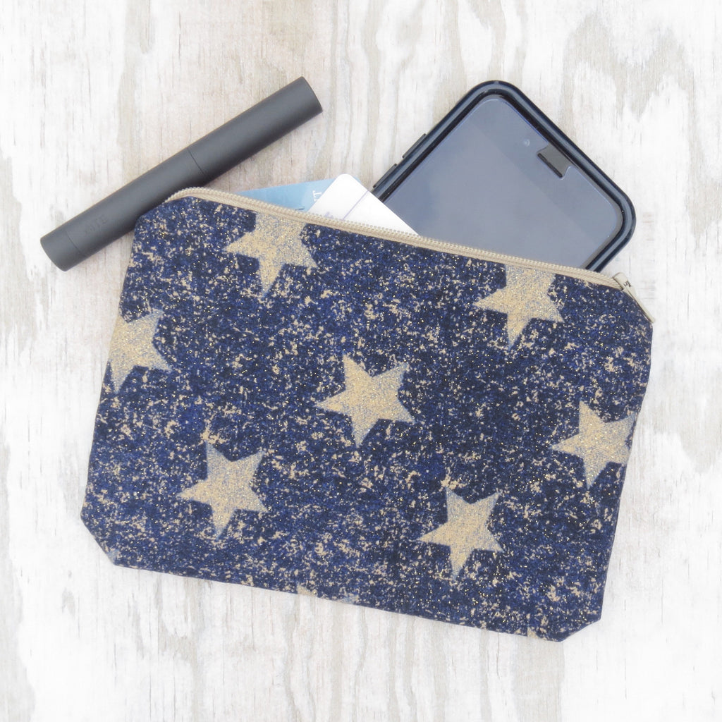 Sparkly Gold Stars Zipper Bag