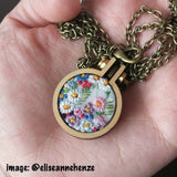floral mini hoop necklace by StitchCulture
