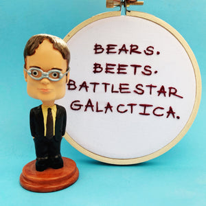 BEARS BEETS BATTLESTAR GALACTICA / The Office embroidery hoop