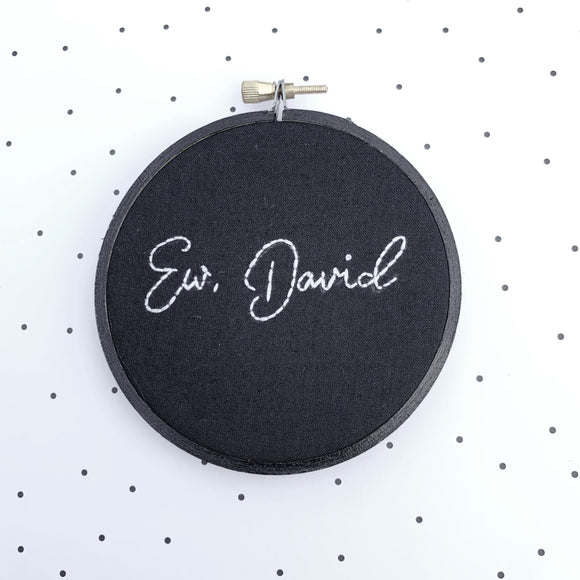 EW, DAVID / Schitt's Creek hand embroidery (MADE TO ORDER)