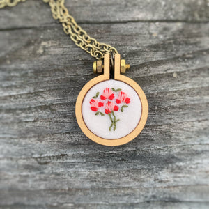 Pink Bouquet Vintage Floral Handkerchief Mini Hoop Necklace