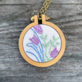 Blue & Purple Vintage Floral Handkerchief Mini Hoop Necklace