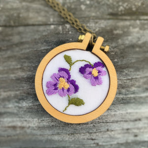 Violet / Purple Vintage Floral Handkerchief Mini Hoop Necklace