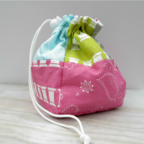 Spools and Pins Patchwork Reversible Drawstring Pouch