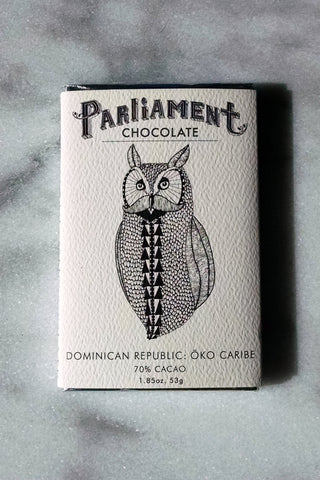 Parliament Chocolate 70% Dominican Republic: Öko Caribe Dark Chocolate Bar - Chocolate Bar Suppliers