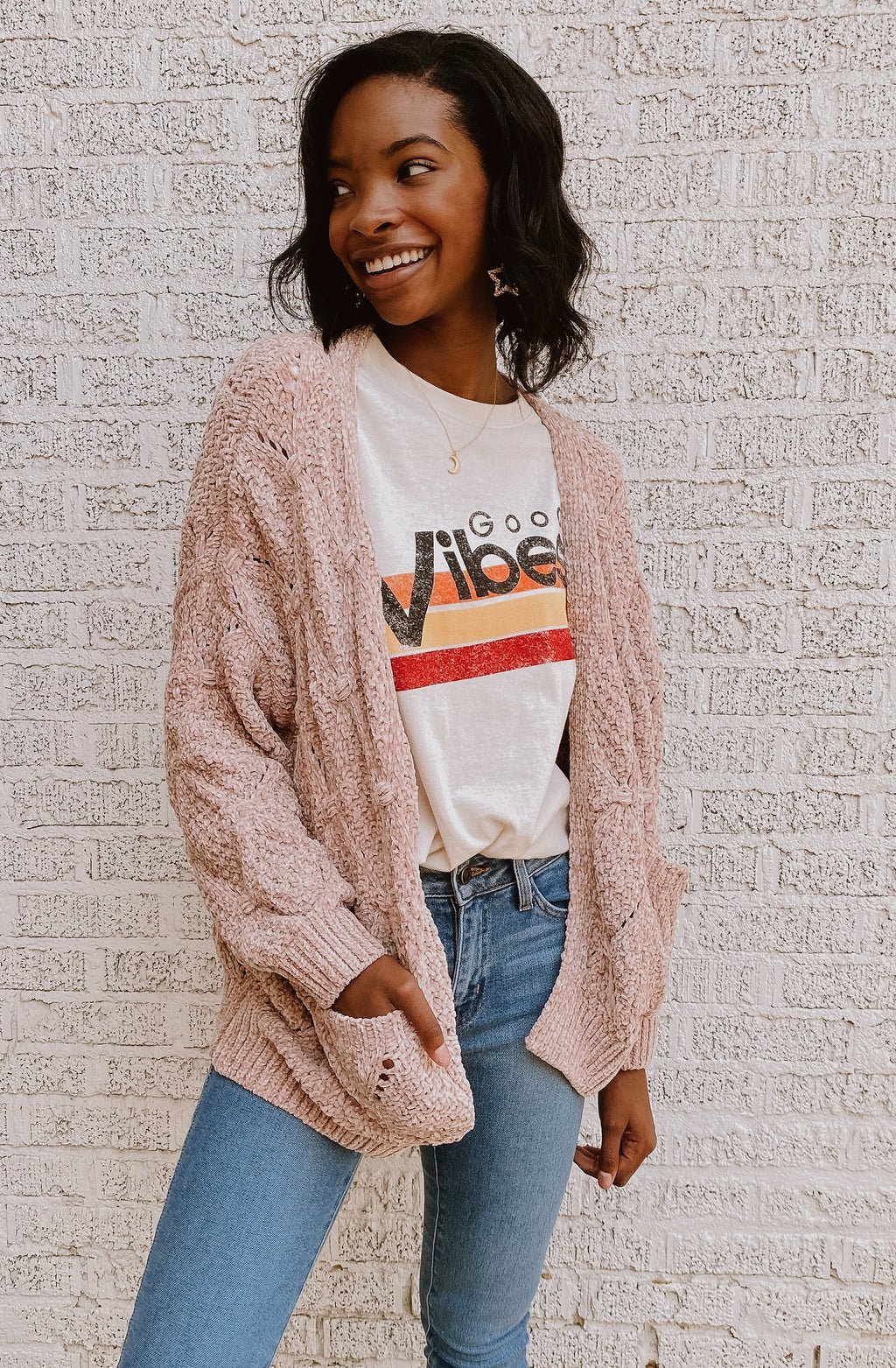 BLUSH POM POM KNIT CARDIGAN