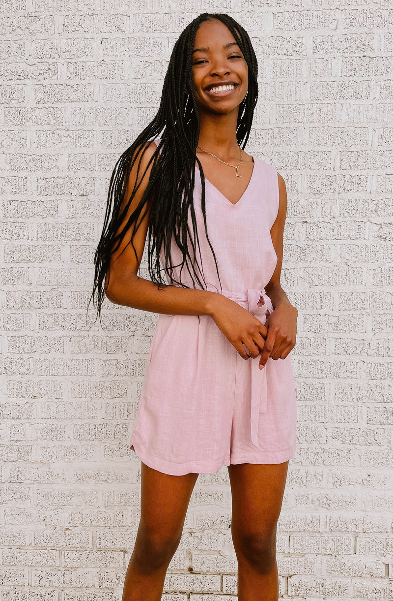 TIED OPTION V-NECK ROMPER
