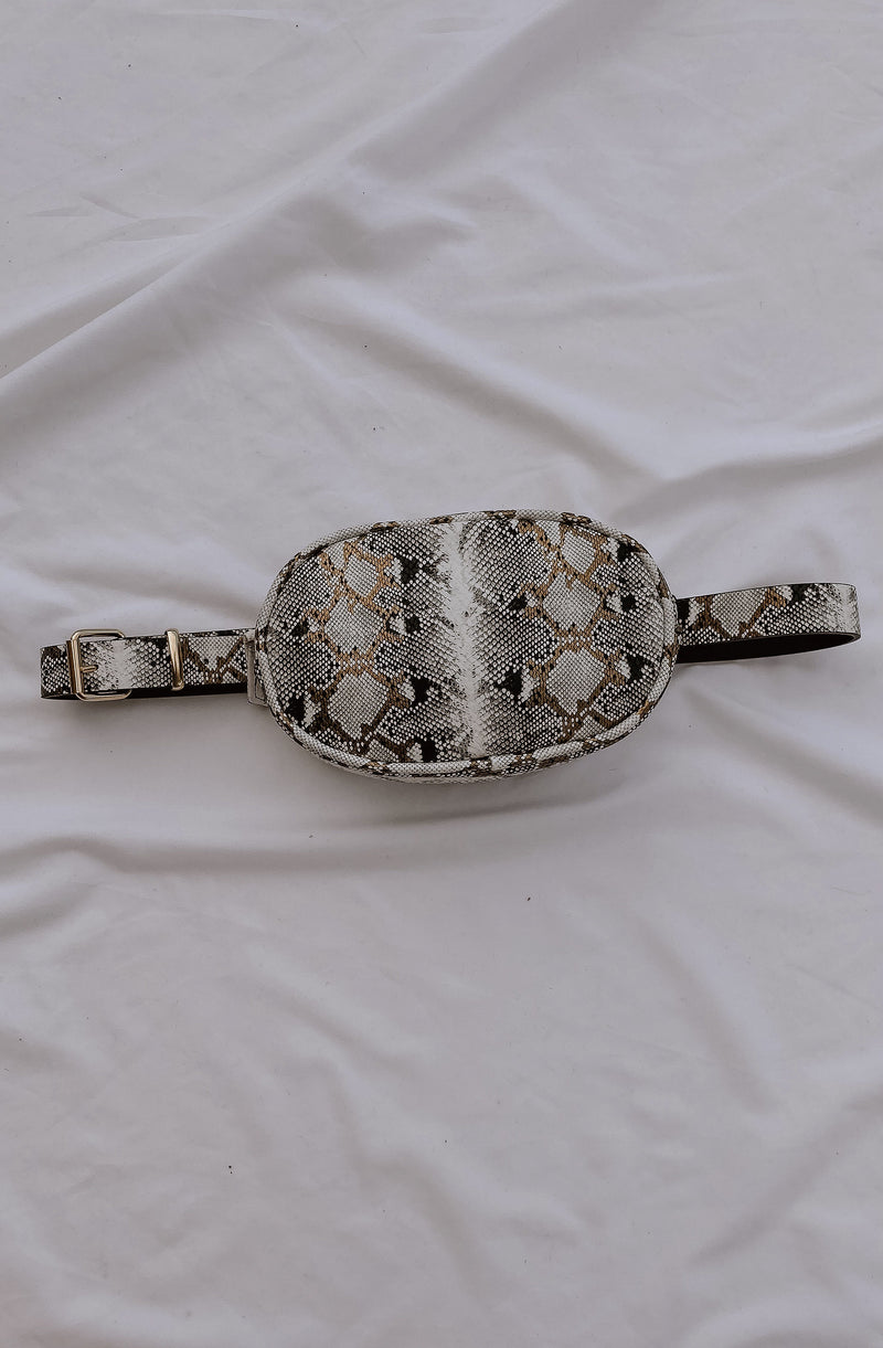 SNAKE IT OFF FAUX SNAKESKIN BELT BAG