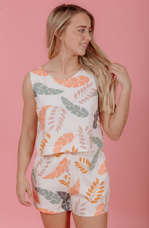 TAKE ME TO THE TROPICS LINEN TOP