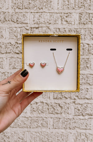 ARI HEART NECKLACE & EARRINGS GIFT SET - 14K GOLD/PINK OPAL