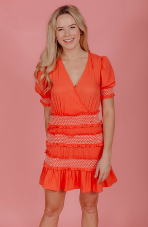 CORAL CUTIE SMOCKED DRESS