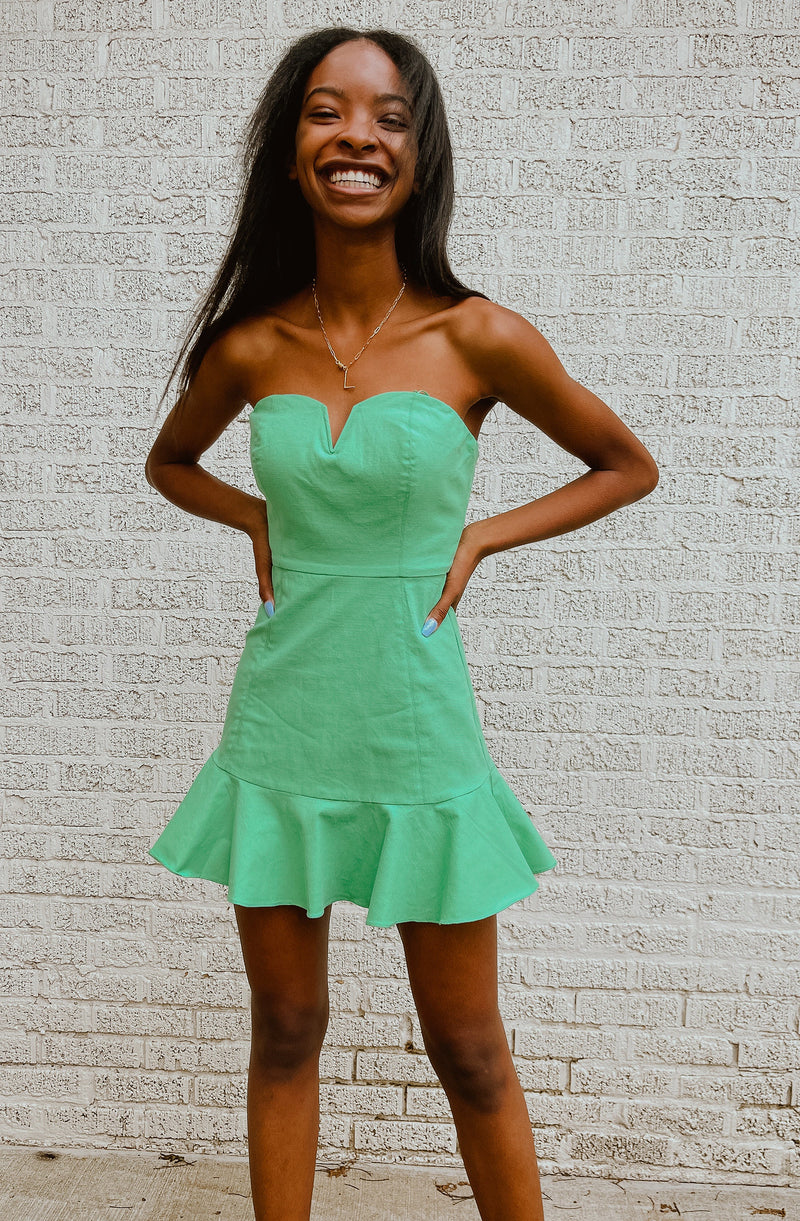 KEY LIME STRAPLESS DRESS