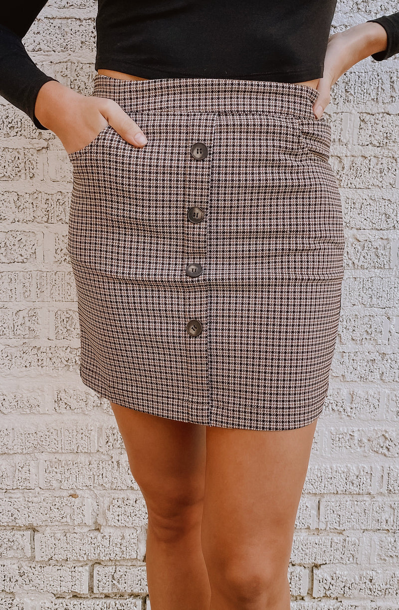 LOST AND HOUNDSTOOTH CHECK SKIRT