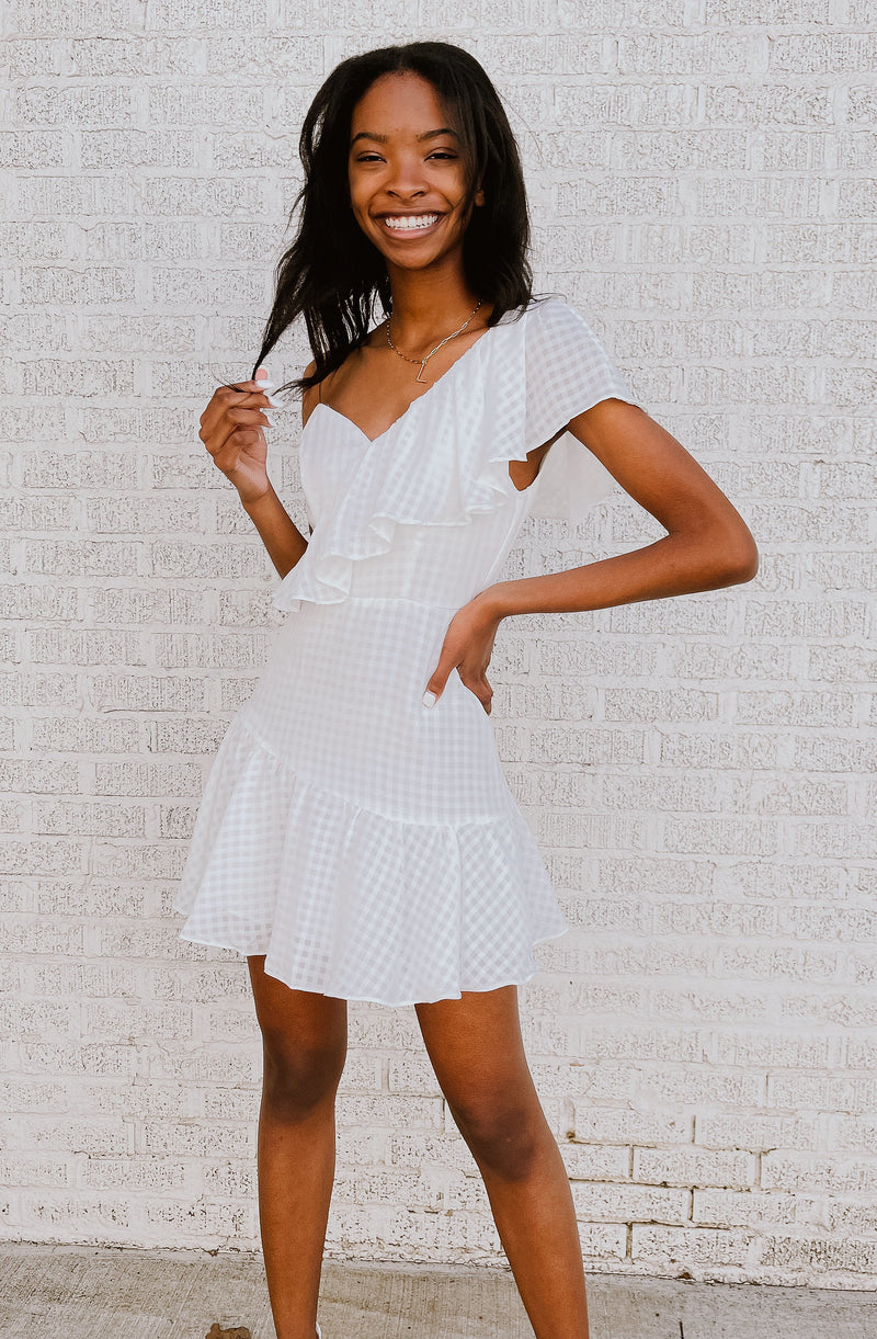 READY TO RUFFLE ONE SHOULDER DRESS