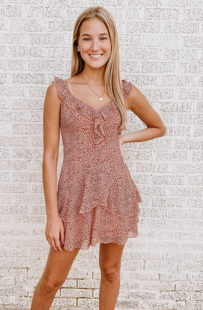 ROARING RUFFLES BLUSH LEOPARD DRESS