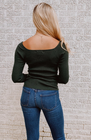 RUCHED PINE-GREEN SWEETHEART TOP