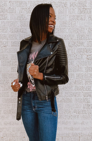 INTO MOTO FAUX LEATHER JACKET
