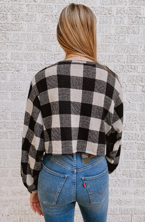 THAT'S CHECKMATE CROPPED SWEATER