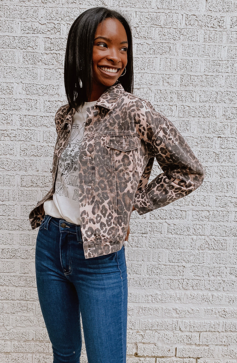 LEOPARD KAI PRINTED DENIM JACKET