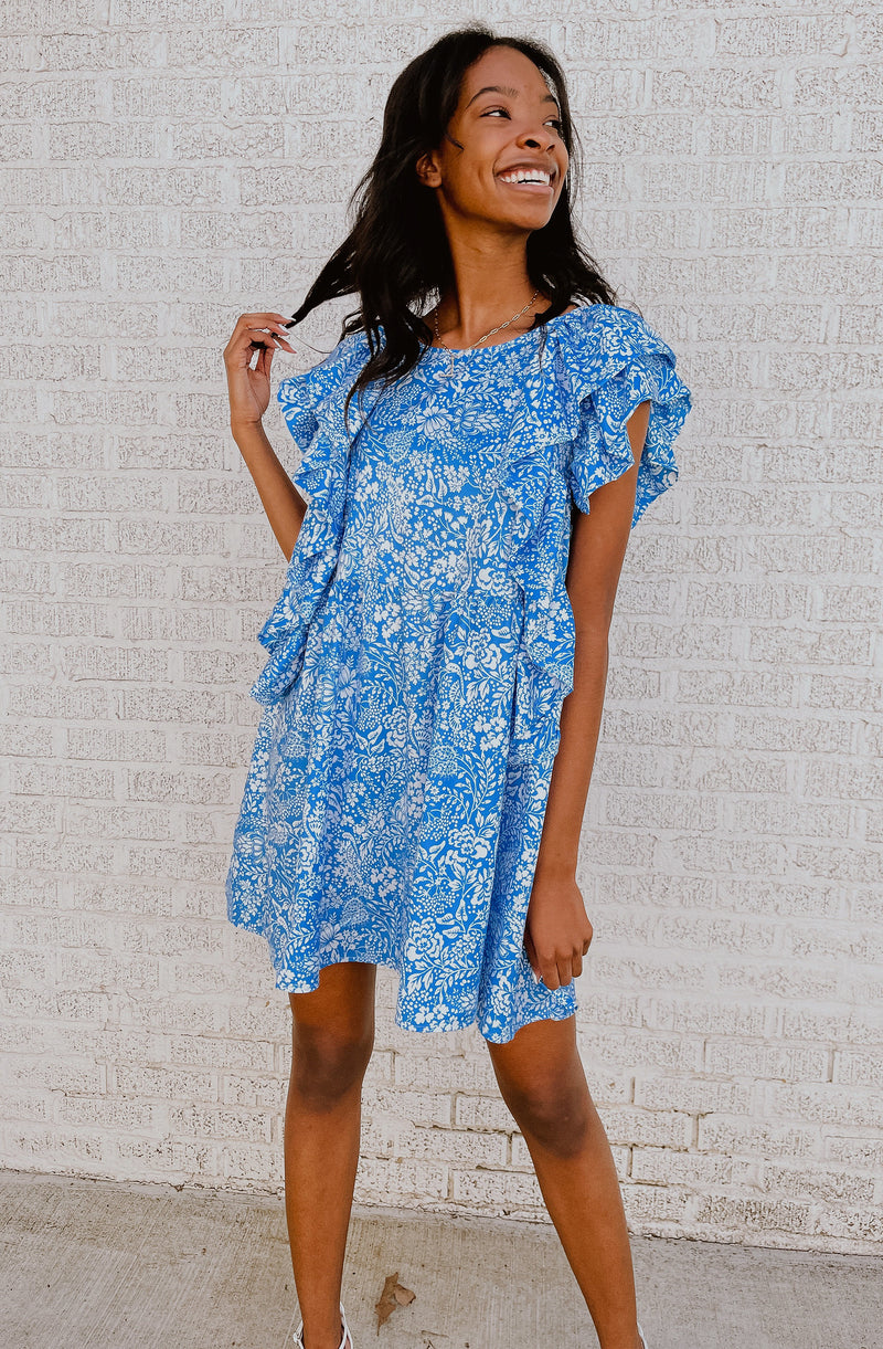 MALI-BLUE BABE BABYDOLL RUFFLE DRESS