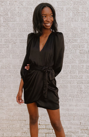 AS THE PIN DROPS WRAP MINI DRESS
