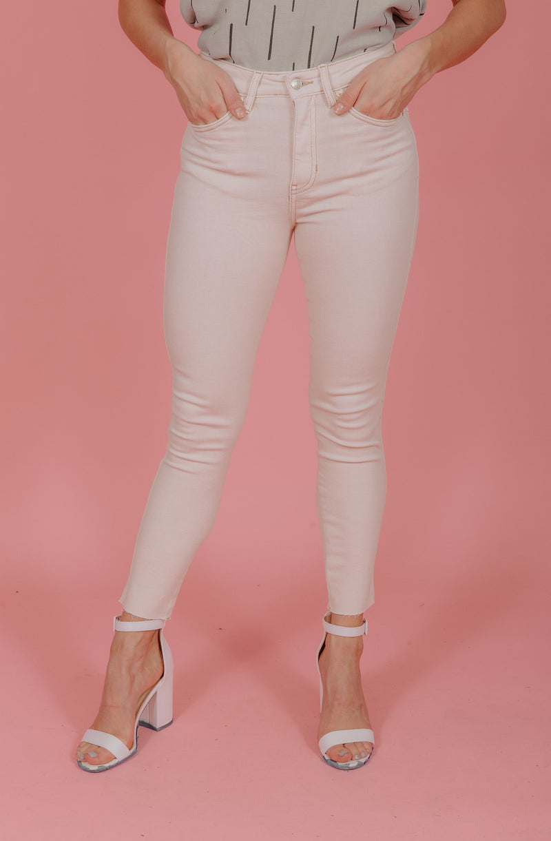 FREE PEOPLE RAW HIGH RISE JEGGING IVORY