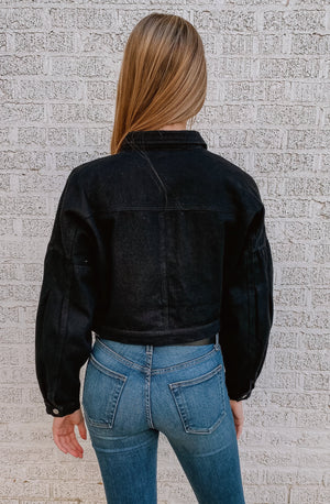 HEADING TO THE EAST SIDE CROPPED DENIM JACKET