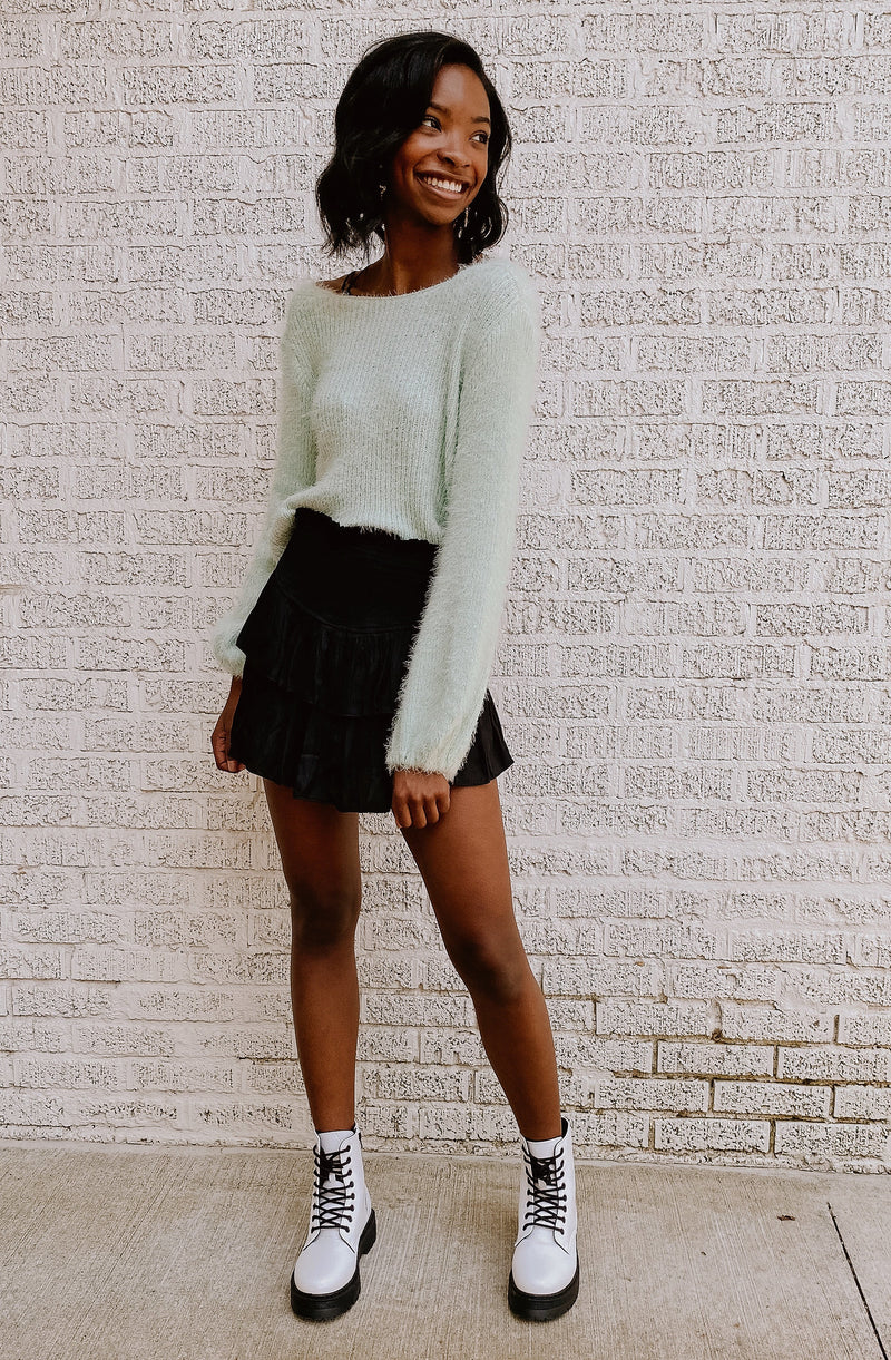 SPEARMINT TWIST FRONT SWEATER