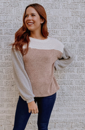 BLOCK IT OUT COLOR BLOCKED SWEATER