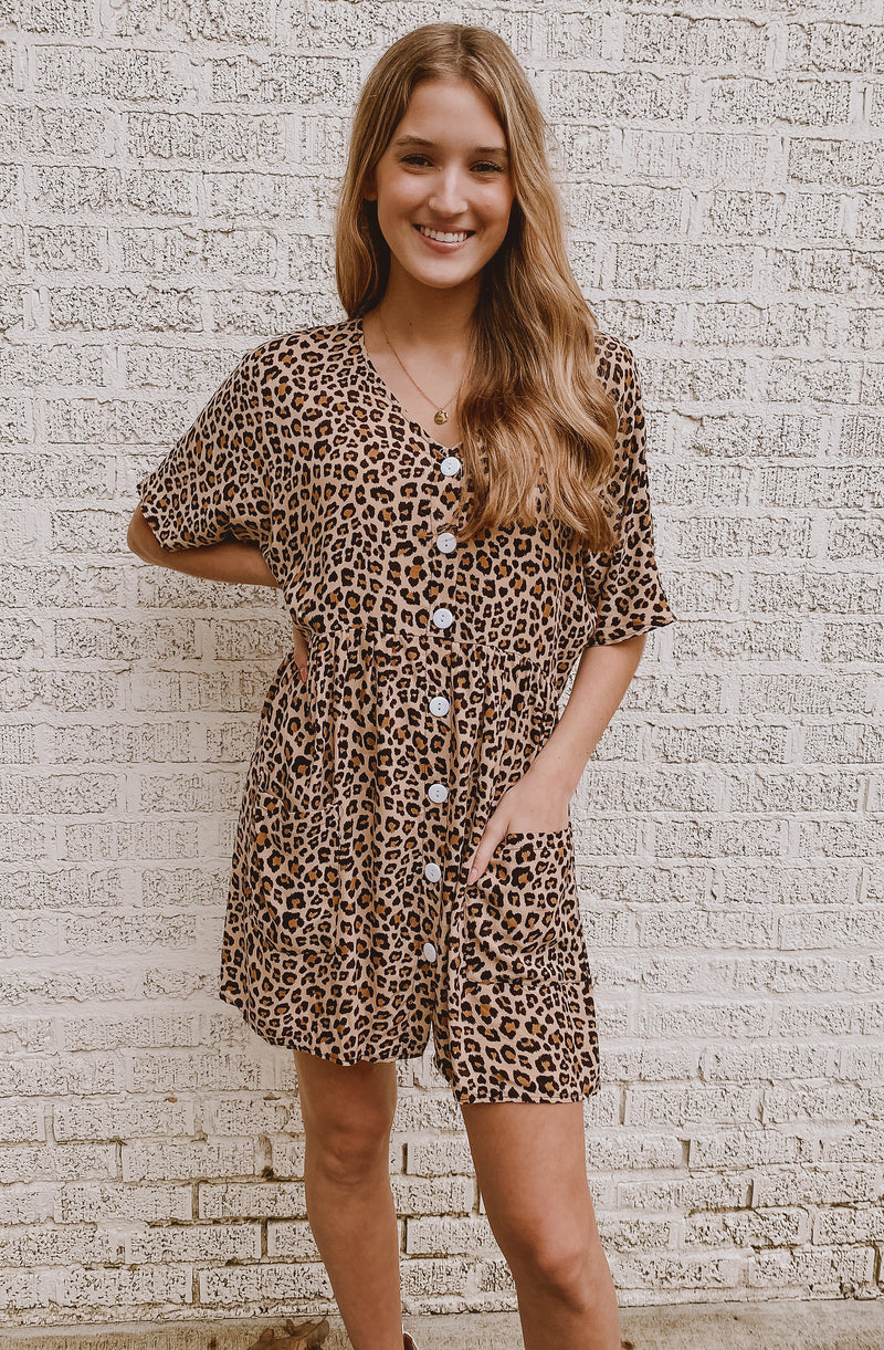 WE'RE CLAW OVER IT BUTTON UP LEOPARD DRESS