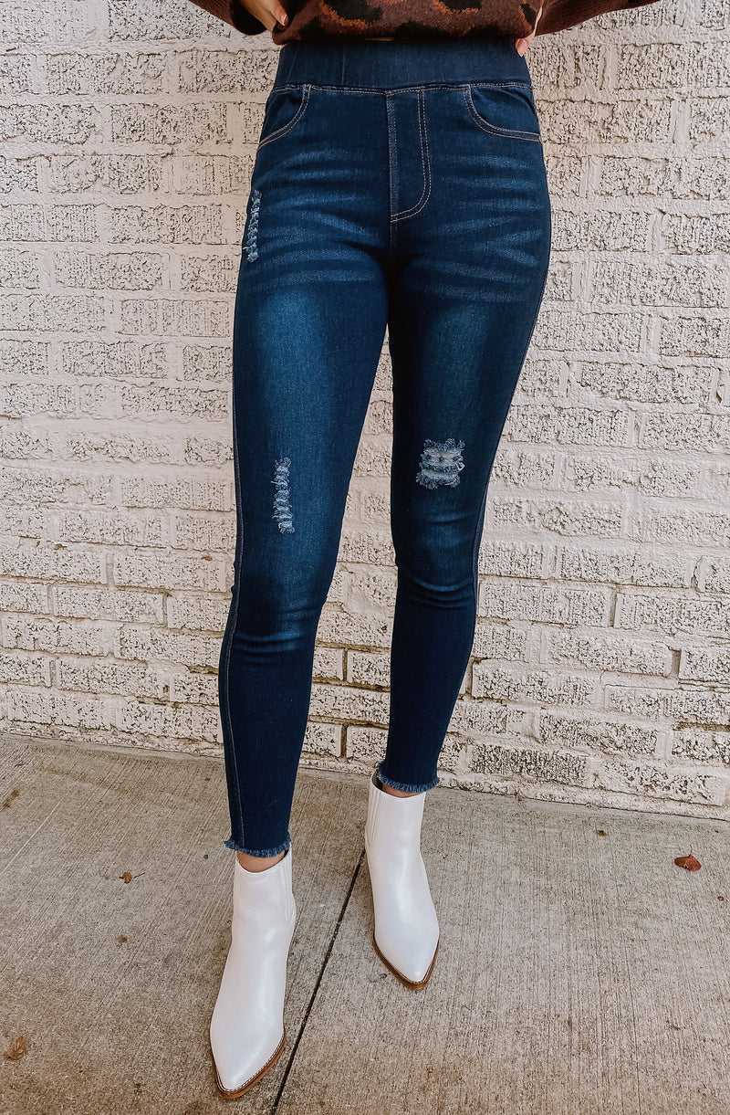 IN HIGH SPIRITS DISTRESSED DENIM JEGGINGS