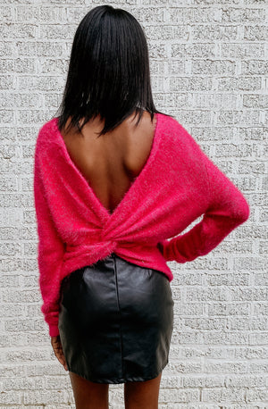 BRIGHTEN YOUR DAYS TWISTED BACK SWEATER